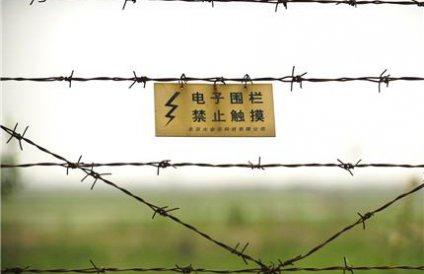 Заграждение из колючей проволоки на границе КНДР с Китаем